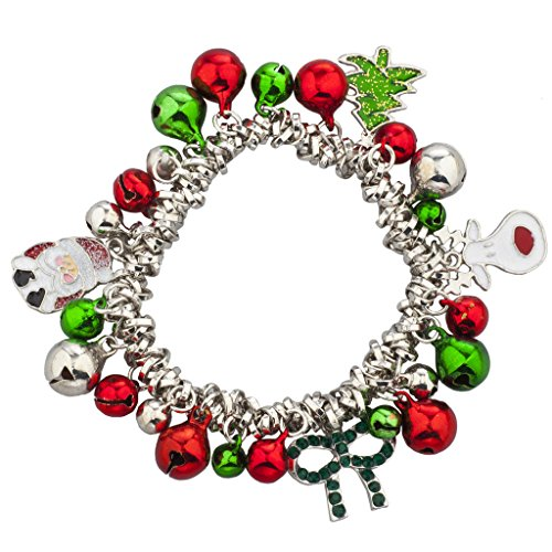 Christmas Jewelry - Lux Accessories Silvertone Christmas X-Mas Holiday Jingle Bells Charm Bracelet