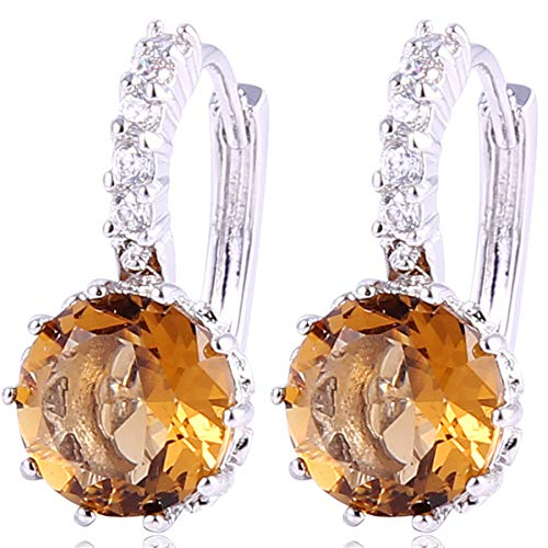 GULICX White Gold Tone Cubic Zirconia Pierced Huggie Hoop Earrings (Silver-Smoke-Round) ()