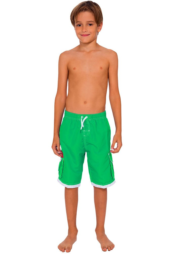 INGEAR Boys Quick Dry Swim Trunks Cargo Water Shorts With Mesh Lining (Green, 12/14) by INGEAR (Image #3)