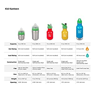 Klean Kanteen Kid Kanteen Classic Sport Single Wall Stainless Steel Kids Water Bottle with Sport Cap 3.0 Farm House