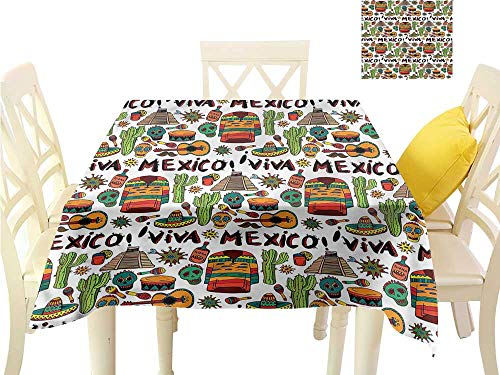 - WilliamsDecor BBQ Tablecloth Mexican,Cartoon Cactus Salsa Outdoor Picnics W 70