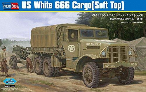 Hobby Boss US White 666 Cargo Truck Model Kit (Soft Top)