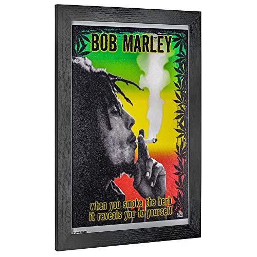"Crystal Art Licensed Bob Marley Smoke The Herb Framed Wall Art, 19"" H x 13"" L, Multicolored ()"