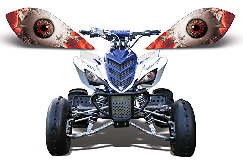 AMR Racing ATV Headlight Eye Graphic Decal Cover for Yamaha Raptor 700/250/350 - Spliced (Atv Accesory compare prices)