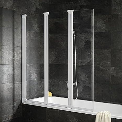 Pare bañera con tapa automontable, – Mampara plegable, 125 x 130 cm, 3 caras), pantalla baño cristal transparente, blancos: Amazon.es: Bricolaje y herramientas