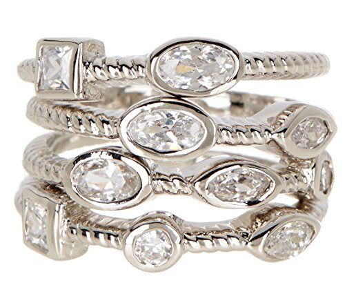 Silver Clad CZ Wholesale Gemstone Jewelry Stackable Ring Set (Size 11)