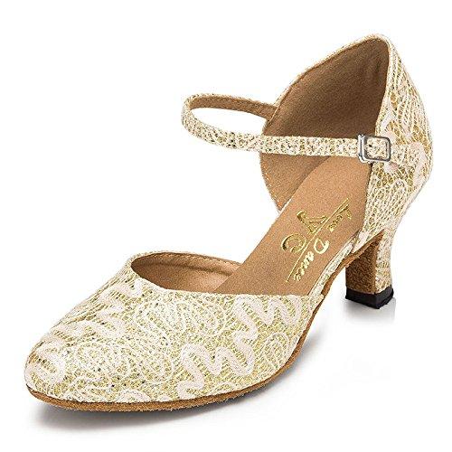 Zapatos De Baile Latino De Punta Redonda para Mujer Salsa/Tango/Chacha/Samba/Moderno/Jazz Sandalias Tacones Altos Beige7.5cm