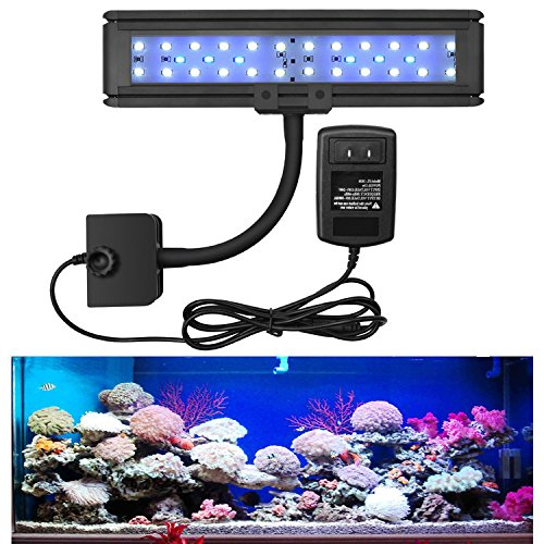 LED Clip Aquarium Light - Aquarium LED Fish Clip Light for Coral Reef Saltwater Fish Marine Rimless Nano Tank - Blue and Blue White LEDs for Day and Night Save Energy for Tank Length 10-18inch