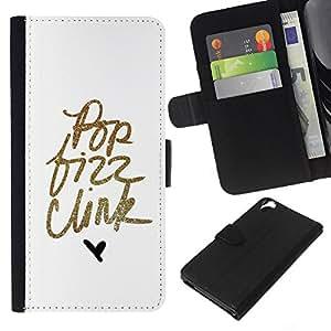 KLONGSHOP // Tirón de la caja Cartera de cuero con ranuras para tarjetas - Pop texto del oro minimalista Hear Blanca - HTC Desire 820 //