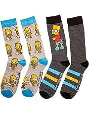 The Simpsons Bart & Homer Men's 2-Pack Crew Socks