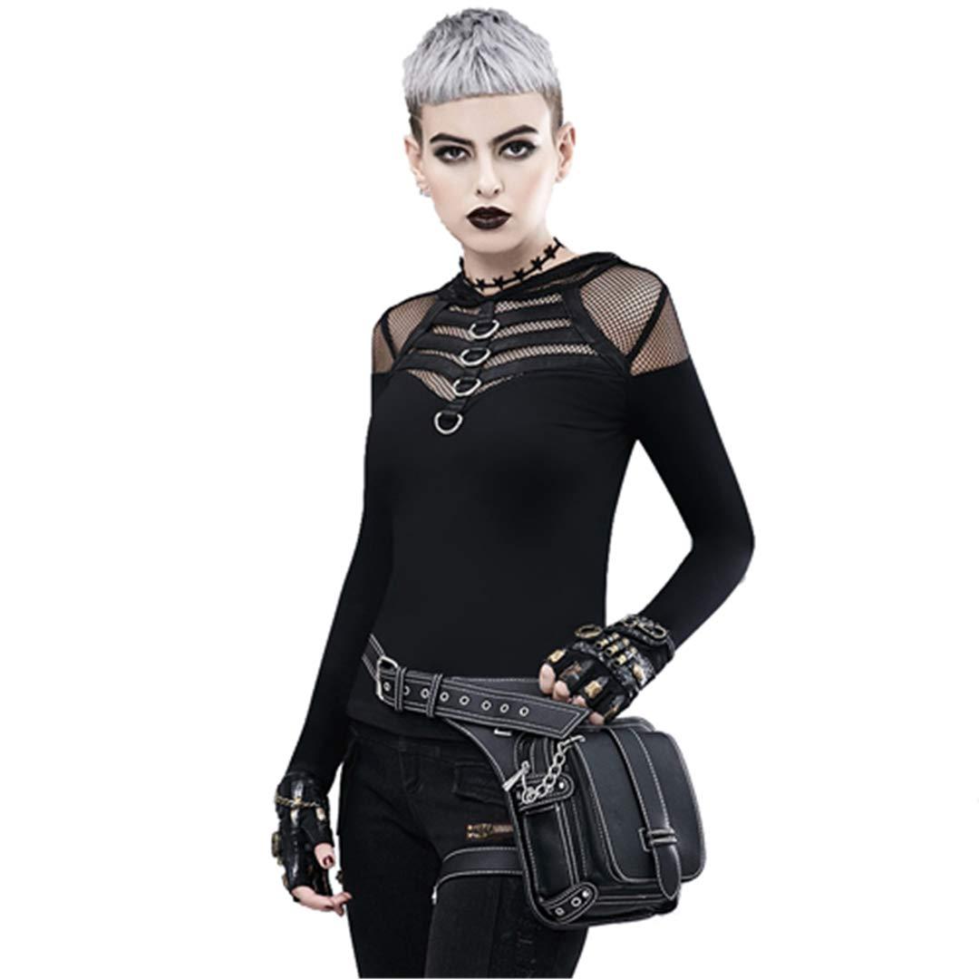 Piolymaner Leder Frauen Messenger Schultertasche Vintage H Tasche Motorrad T Hüfte Bein Gürtel Taschen Steampunk Bag