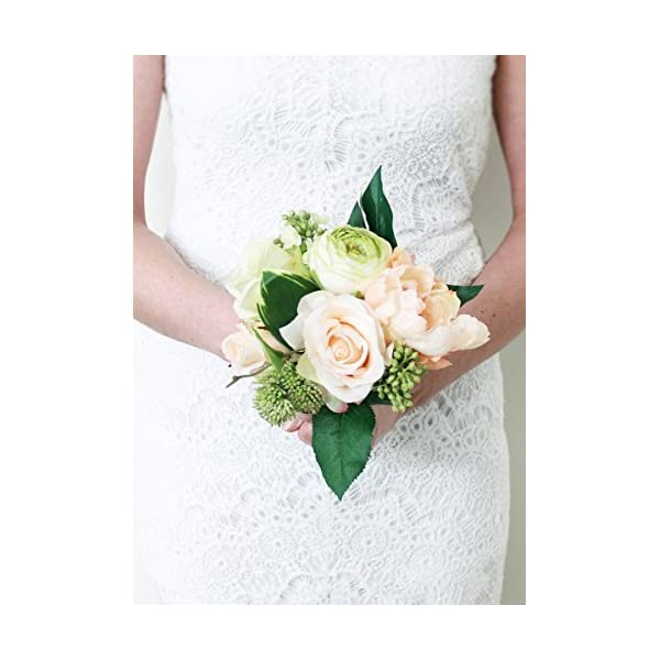 Afloral Peony and Rose Silk Wedding Bouquet in Peach