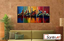 Santin Art-Summer In The City-Modern Canvas Art Wall Decor-Cityscape Oil Painting Wall Art