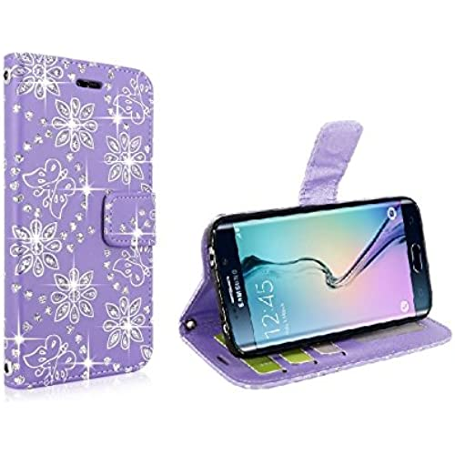Samsung Galaxy S7 Edge - Ispace Cute Flip Bling Diamond Wallet Leather Case with Card Cash Slot and Stand Feature Cover for Galaxy S7 Edge (Purple) Sales
