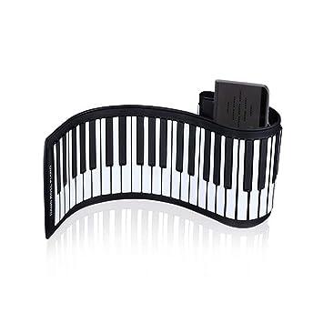 WMING 88 Teclas de Silicona Piano portátil Flexible Piano Plegable Instrumento de música Digital Roll up Teclado electrónico Suave Piano Adecuado para niños ...