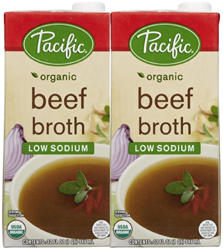 Pacific Natural Foods Beef Broth, Low Sodium, 32 oz, 2 pk