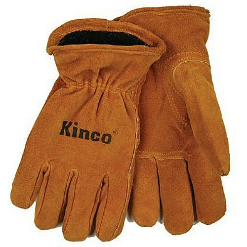 KINCO 50RL-Y Suede Cowhide Gloves, Foam/Jersey Lining, Keystone Thumb (Ages 7-12), Youth, Golden (Leather Chore Glove)