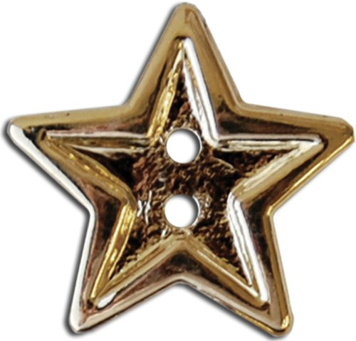 Slimline Buttons Series Funtastics -Bright Gold Star 2-Hole 7/8