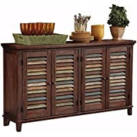 Ashley Furniture Signature Design - Mestler Dining Room Server - 2 Cabinet Serving Table - Dark Brown
