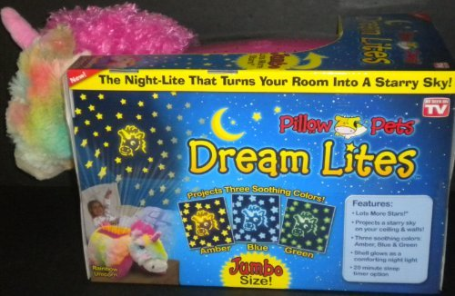 "Jumbo Dream Lites Pillow Pet Unicorn Multi Color Hot Pink Mane Horn 20"" x 10.5"" 3 Light Options Sleep Timer Project Stars 5"