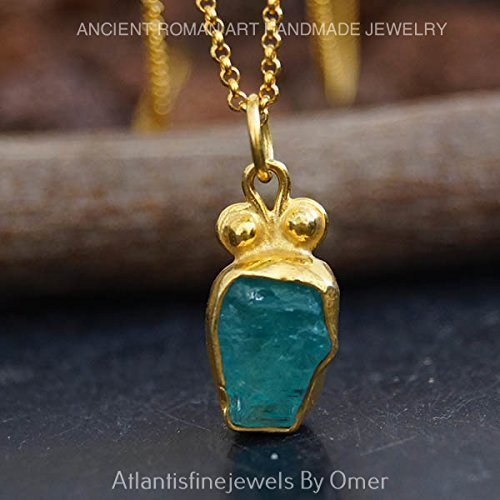 Omer Rough Apatite Pendant & Necklace Chain 24k Gold Over Sterling Silver