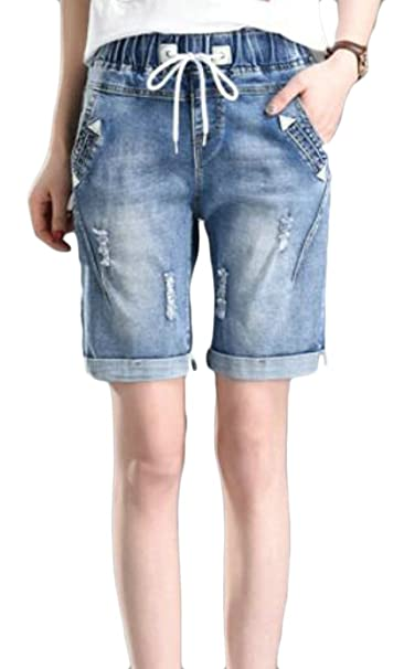 04ed98b27b XiaoTianXin-women clothes XTX Womens Roll Hem Ripped Casual Drawstring Hot  Pant Denim Shorts at Amazon Women s Clothing store