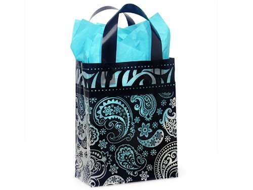 Paisley Flourish Frosted Plastic Medium Shopper Gift Bag - Quantity of 5 by Wraps ()