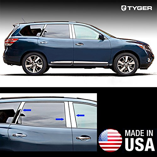 Made In USA! Works With 2013-2015 Nissan Pathfinder 6PC With Diagonal Piece Stainless Steel Chrome Pillar Post Trim MaxMate