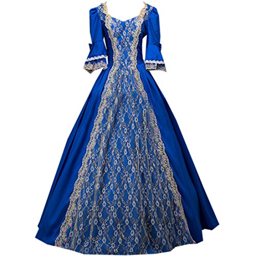 Partiss Women's Prom Gothic Victorian Fancy Palace Masquerade Lolita Dresses,One Size,Royalblue