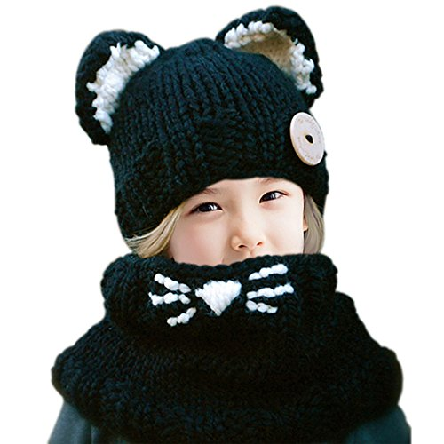 Jhua Baby Kids Warm Winter Beanies Knitted Caps Hooded Animal Ear Hat Scarves Beanie