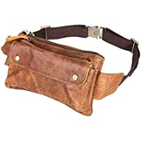 Loyofun Unisex Brown Genuine Leather Waist Bag Messenger Fanny Pack Bum Bag for Men Women Travel Sports Running Hiking