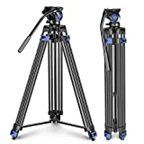 Neewer Professional Heavy Duty Video Tripod, 76-inch Aluminium Alloy, Fluid Drag Head, Support Left/Right Bar Handle, Mid-Level Spreader, for DSLR Cameras Video Camcorders, Load up to 33 Pounds