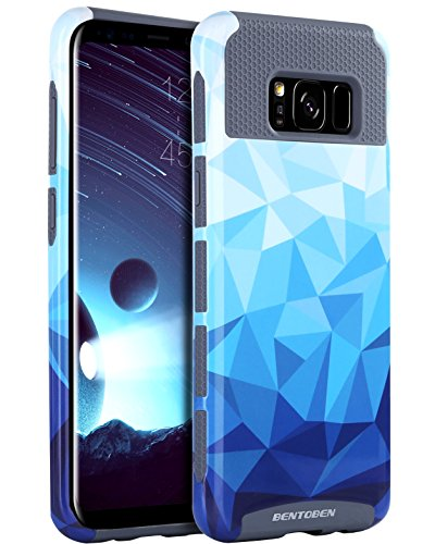 (Galaxy S8 Plus Case, Samsung S8 Plus Case,BENTOBEN Slim Protective Shockproof Hybrid Hard PC Soft TPU Geometric Diamond Pattern Textured Design Case Cover for Samsung Galaxy S8 Plus S8+ 2017,Blue/Gray)