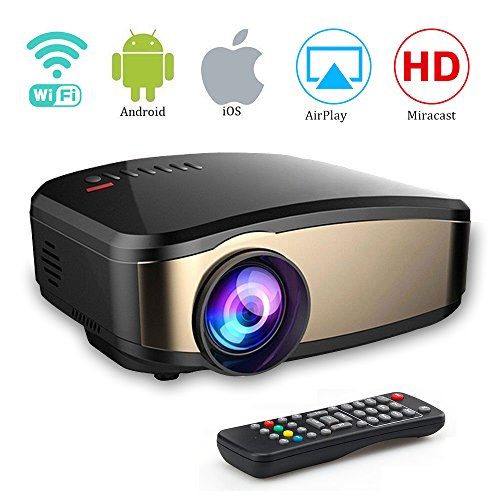 Wireless WiFi Projector,Weton Portable Mini LED Video Projector Full HD 1080P Home Theater Movie Projector with HDMI USB VGA SD AV for Home Cinema 150'' Max Dispaly]()