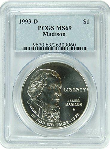 1993 D Madison Madison Commemorative Dollar State PCGS MS-69
