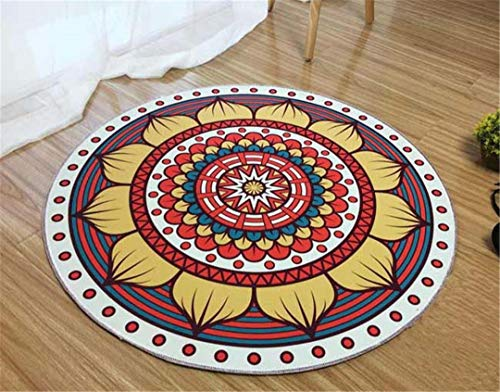 Bohemia Style Abstract Geometric Patterns Carpet Non-Slip Living Room Bedroom Rug Machine Washable Home Decorator Floor Rug B Diameter 140cm