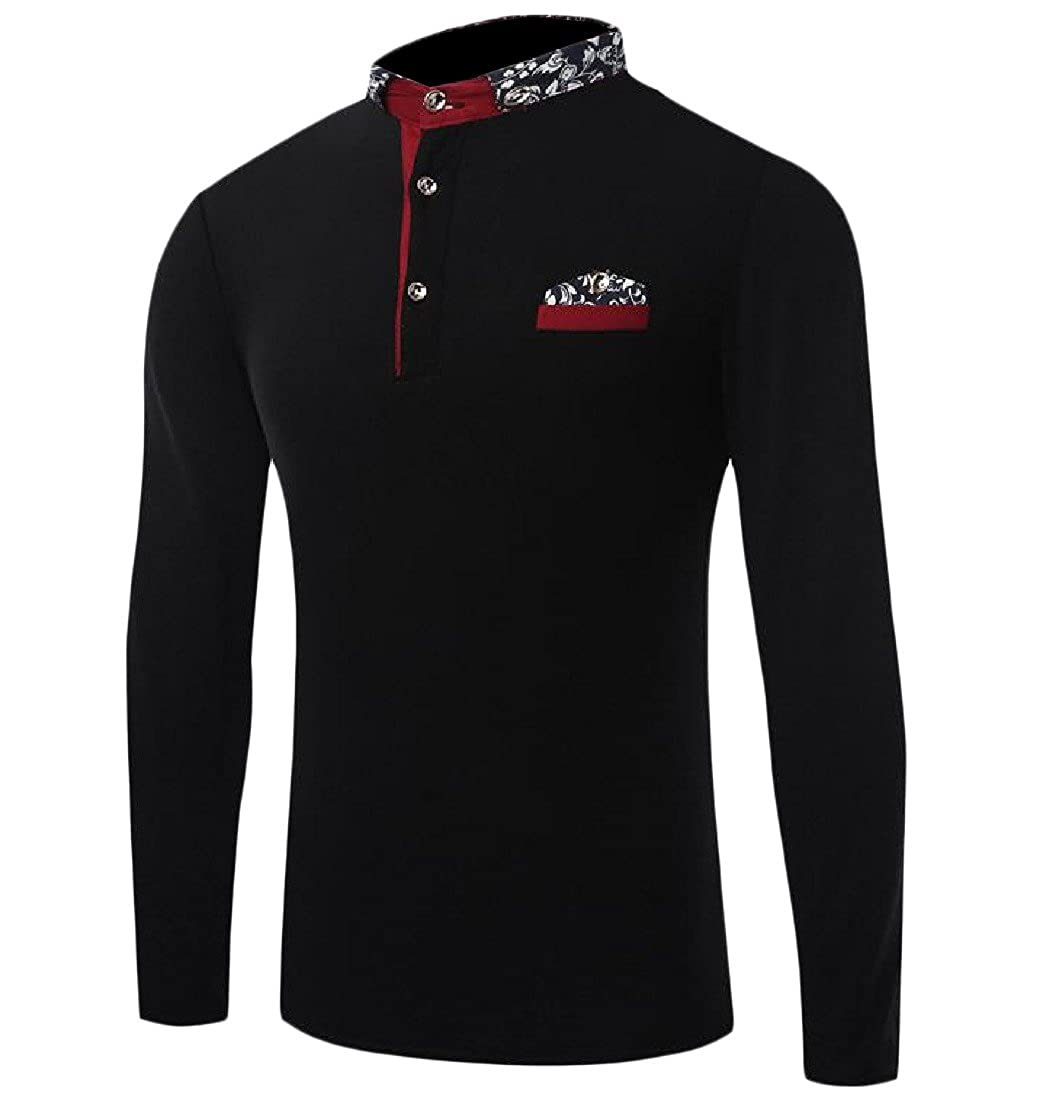 Honey GD Men Custom Fit Flower Printed Stitch Stand Collar Polo Shirt