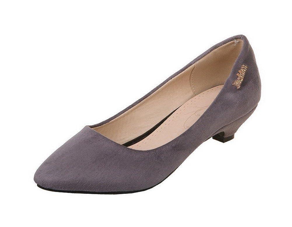 TALLA 37.5 EU. AgeeMi Shoes Mujer Sólido Suede Sin Cordones Tacón Medio de Salón