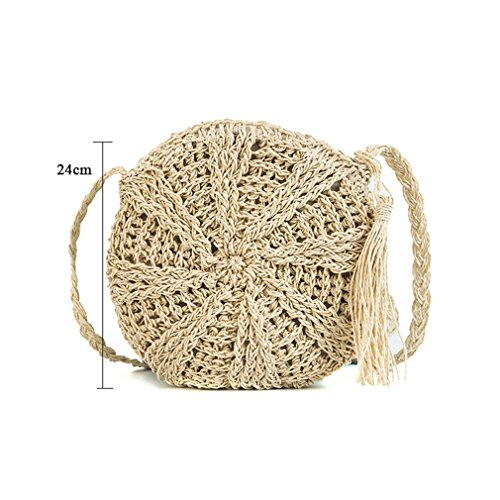 Circle Crossbody Bohemian Braided Bag Tassel Knitted Messenger Bags Straw Round Bag Amuele Beige Lady Weave Beach 4FPqIff