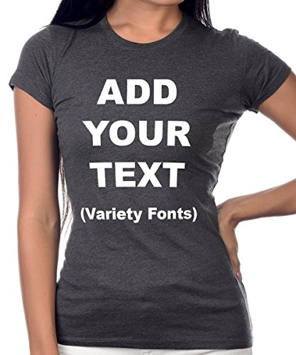 Custom T Shirts Girls Add Your Text Message Ultra Soft Tight Cotton T Shirt [Charcoal/M] -