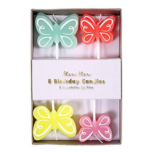 Meri Meri 45-2712 Butterfly Birthday Candles, Set of 8 Candles