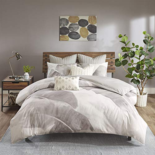 - Ink+Ivy Charlotte Cotton Twill Leaf Print Duvet Cover Mini Set Grey/White King/Cal King