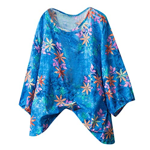 KawaiineWomen Casual Patterned Half Sve Plain Print Tee Top Blouse Shirt(S-5XL0 Blue