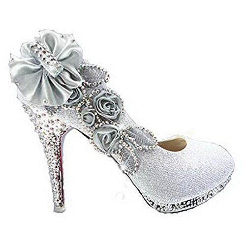 23b9f67535b Szsmart Women's Elegant High Heels Pull-On Sequins Wedding Shiny  Pumps-Shoes with Flowers Floriation