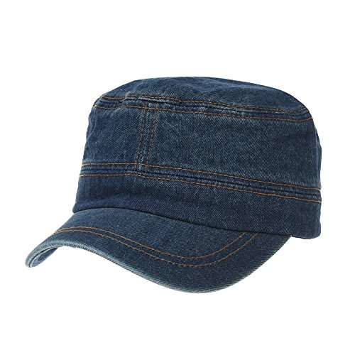 (WITHMOONS Army Denim Cadet Cap Cotton Jean Stitch Washed Hat KR4969 (Darkblue))