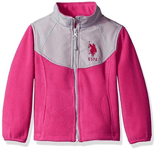 US Polo Association Baby Big Girls Fashion Outerwear Jacket (More Styles Available), Space Dye-UA78-Fuchsia, 14/16
