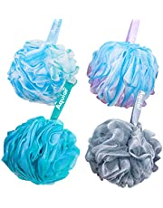 Aquior Bath Sponge Shower Loofahs Balls 75g/PCS Extra Large Mesh Pouf Easy Foaming Body Scrubber Exfoliator for Big Full Lather Cleanse(4 Pack)
