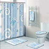 Bathroom 5 Piece Set Shower Curtain 3D Print Multi Style,Christmas,Traditional Xmas Celebration Items Hanging from Rope with Clothespins Retro,Red Cream Tan,Bath Mat,Bathroom Carpet Rug,Non-Slip,Bath
