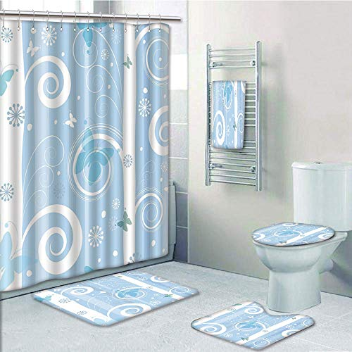 Rug Betty Baby Boop - Bathroom Fashion 5 Piece Set shower curtain 3d print,Christmas,Swirled Lines Snowflakes and Butterflies Fantastic Festive Abstract Winter Decorative,Baby Blue White,Bath Mat,Bathroom Carpet Rug,Non-Sl