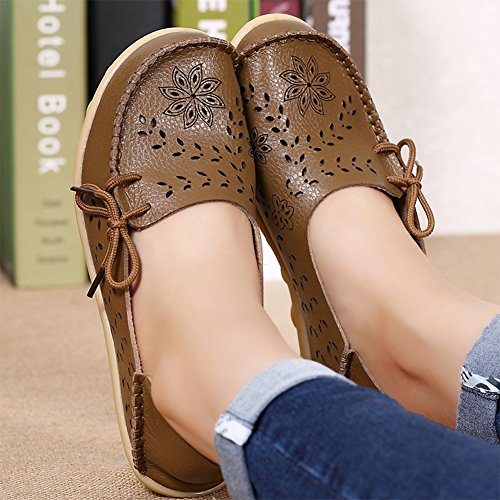 Indoor Loafers Group Flat Shoes 2khaki Slip Women��s Breathable Moccasins RT Wild Casual on Leather Slippers UwxqvA4a